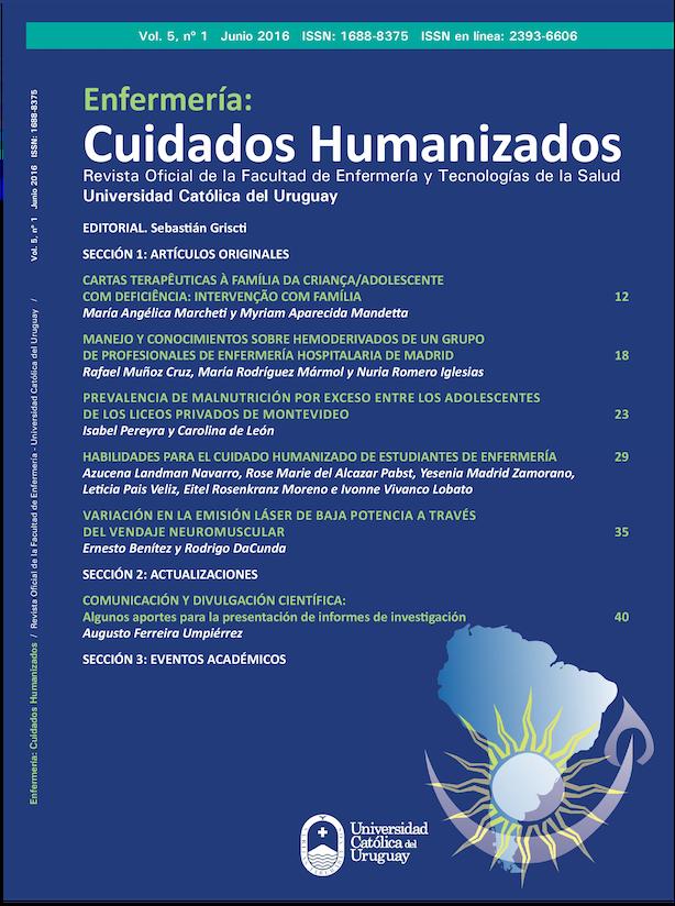 Ver Vol. 5 Núm. 1 (2016): Enfermería: Cuidados Humanizados